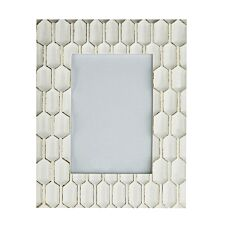 "Premier Housewares Honeycomb 5 X 7"" Photo Frame - White/Gold Polyresin"
