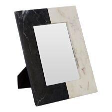Premier Housewares Kira Photo Frame (5In X 7In) - Marble Black/White