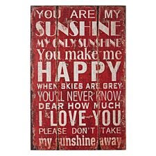 "Premier Housewares Sunshine Wall Plaque ""You Are My Sunshine My..."""