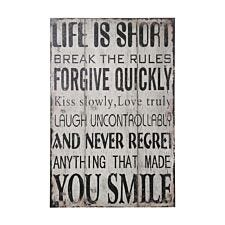 "Premier Housewares Life Wall Plaque ""Life Is Short Break the Rules..."""