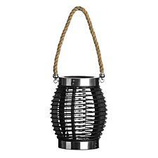 Premier Housewares Small Altar Lantern - Black Wood/Glass/Rope