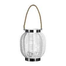 Premier Housewares Large Altar Lantern - White Wood/Glass/Rope
