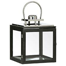 Premier Housewares Regents Park Small Lantern - Black Wood/Stainless Steel