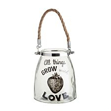 """Premier Housewares Glass Lantern"""" All Things Grow"""" with Rope Handle"""