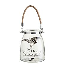 "Premier Housewares ""Beautiful Day"" Glass Lantern with Rope Handle"