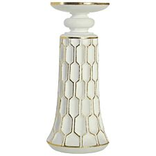 Premier Housewares Honeycomb Small Candle Holder - White/Gold Polyresin