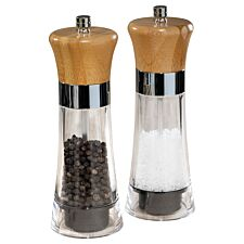 Pro Chef Acrylic Wooden Salt & Pepper Mill - Set of 2