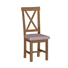 Rosewell Natural Oak 2 Upholstered Cross Back Chairs