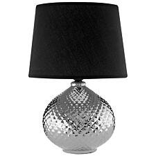 Premier Housewares Hetty Table Lamp in Ceramic Silver with Black Shade