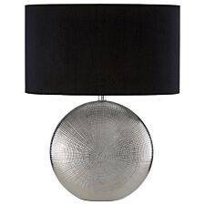 Premier Housewares Jasmin Table Lamp in Silver Ceramic with Black Shade