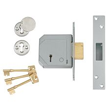 Union 3G114E 5 Lever Mortice Deadlock C-Series 67mm 2.5in - Satin Chrome
