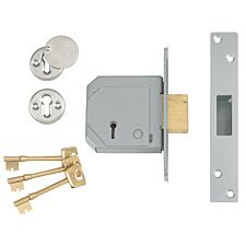 Union 3G114E 5 Lever Mortice Deadlock C-Series 80mm 3in - Satin Chrome
