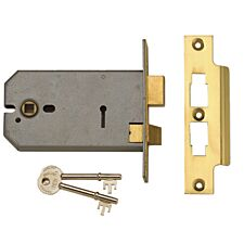 Union 2077-6 3 Lever Horizontal Mortice Lock Polished Brass 149mm