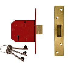 Union 2134E 5 Lever BS Mortice Deadlock Satin Chrome 67mm 2.5in Visi