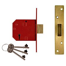 Union 2134E 5 Lever BS Mortice Deadlock Satin Chrome Finish 67mm 2.5in Box