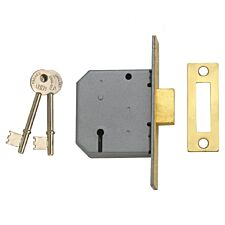 Union 2177 3 Lever Mortice Deadlock Polished Brass 77.5mm 3in Visi