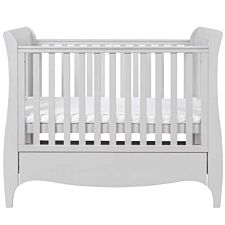 Tutti Bambini Roma Mini Sleigh Cot Bed with Drawer - Dove Grey