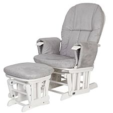 Tutti Bambini Reclining Glider Chair & Stool - White/Grey