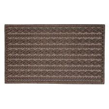 JVL Knit Design Scraper 45 x 75cm Brown Door Mat - Cabled