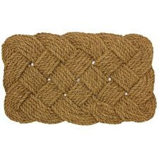 JVL Hand Made Knotted Rope Coir Doormat - 45x75cm