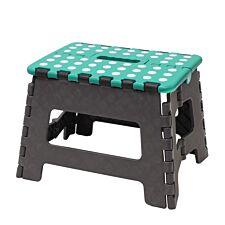 JVL Small Folding Step Stool Grey/Turquoise