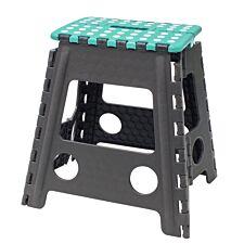 JVL Large Folding Step Stool Grey/Turquoise