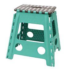 JVL Large Folding Step Stool Turquoise/Grey