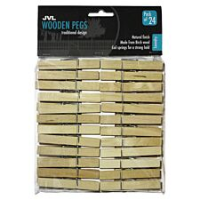 JVL Strong Wooden Retro Vintage Clothes Pegs 24 Pieces