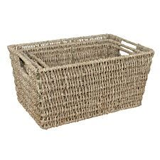 JVL Rectangular Nested Seagrass Large Storage Baskets 37 x 26 x 18 cm Set of 3