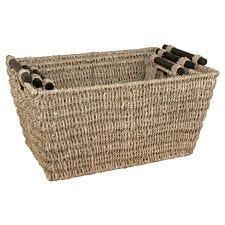 JVL Rectangular Nested Seagrass Large Storage Baskets Set of 3