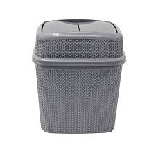 JVL Knit Design Loop Plastic 10 Litre Push Top Bin Grey 28 x 21 x 32.5 cm