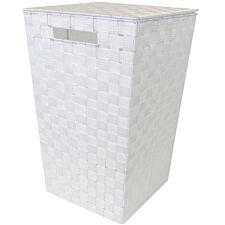 JVL Tapered Laundry Basket With Inset Handles - White