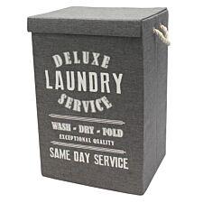 JVL 85L Folding Laundry Hamper Bin - Dark Grey