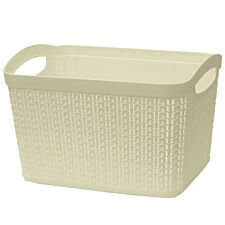 JVL Knit Design Loop Plastic Rectangular Small Storage Basket with Handles Ivory 20 x 26 x 17cm 6.6L