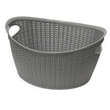 JVL Knit Design Loop Plastic Rectangular Small Storage Basket with Handles Grey 20 x 26 x 17 cm 6.6 Litres