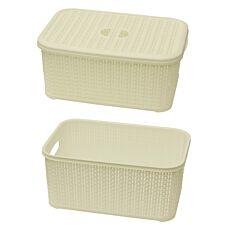 JVL Knit Design Loop Plastic Lidded Rectangular Storage Basket with Handles Ivory 20 x 28.5 x 12.5 cm 6 Litres