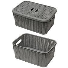JVL Knit Design Loop Plastic Lidded Rectangular Storage Basket with Handles Grey 20 x 28.5 x 12.5 cm 6 Litres