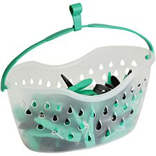 JVL Peg Basket with Built-In Attachable Clothes Hook Line with 36 Coloured Pegs