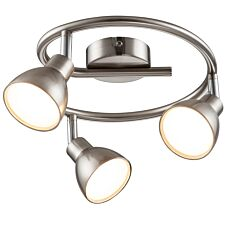 Action Lester Triple Ceiling Lamp - Nickel Matt Finished/Chrome with 3 x LED Bulbs