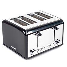 Salter EK3408BLACK Riga 1630W 4-Slice Toaster - Black & Stainless Steel