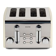 Salter EK3509CREAM 1850W Four-Slice Diamond Toaster with Variable Browning Control - Cream