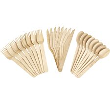 Caroline 24pce Wood Cutlery Set