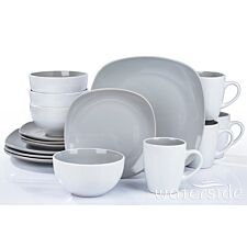 The Waterside 16 Piece Grey Square Dinner Set