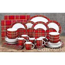 The Waterside 45pc Highland Red Tartan Dinner Set
