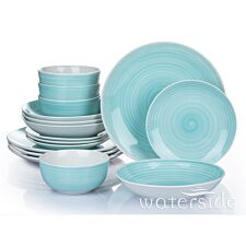 The Waterside 16pc Aqua Splash Spin Wash Dinner Set