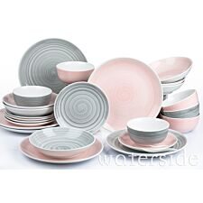 The Waterside 24pc Pink and Grey Spin Wash Dinner Set