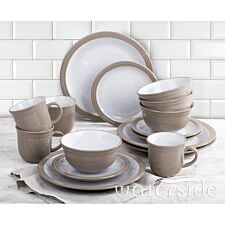 The Waterside 16pc Camden Dinner Set - Taupe