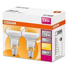 Osram Reflector R63 19W ES LED Bulbs, Warm White - 2 Pack