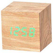 Acctim 'Ark' Cube LED Alarm Clock - Ashwood