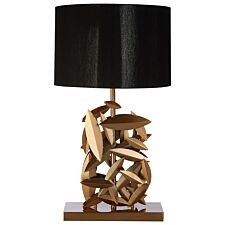 Premier Housewares Zilla Table Lamp in Gold Finish with Black Linen Shade